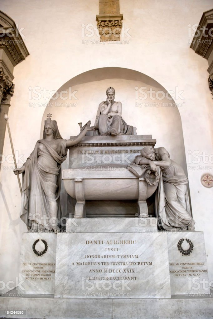 Dante Alighieri's tomb in Basilica of Santa Croce, Florence stock photo