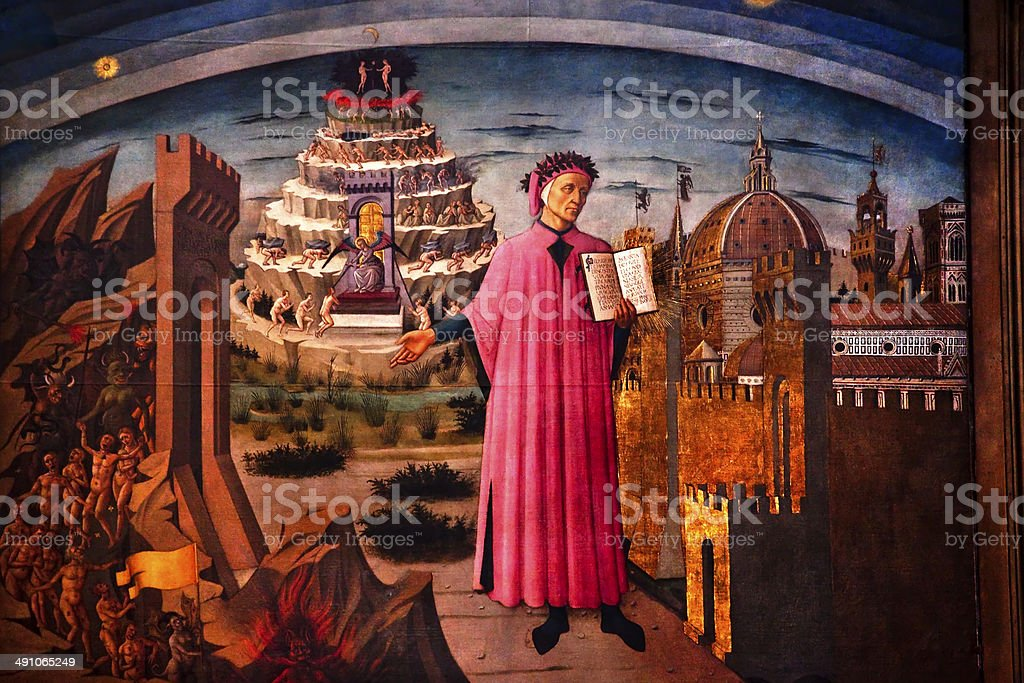 Dante and the Divine Comedy Duomo Cathedral Basilica Florence It stock photo