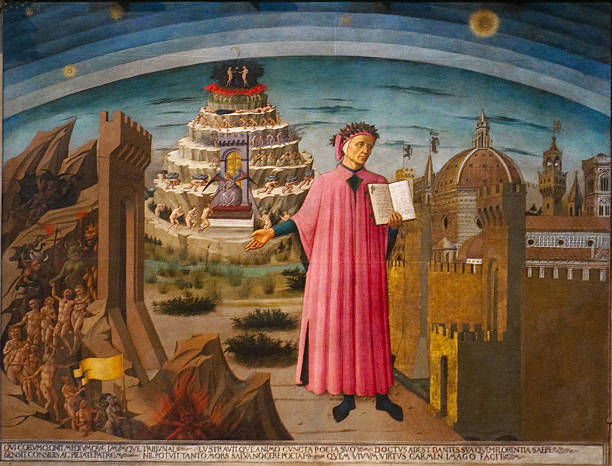 dante and the divine comedy in duomo - renaissance stock pictures, royalty-free photos & images