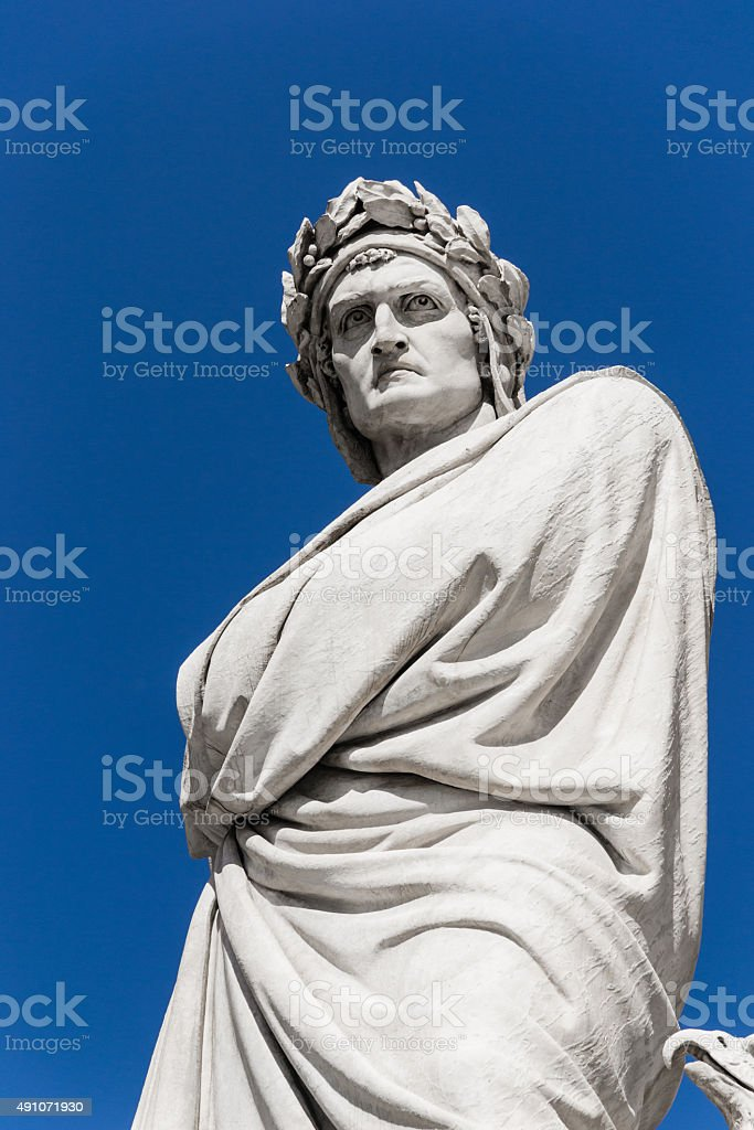 Dante's statue in Florence - Italy stock photo