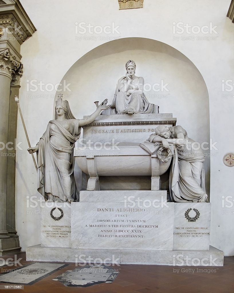 Dante's Tomb at Basilica of Santa Croce. Florence, Italy stock photo