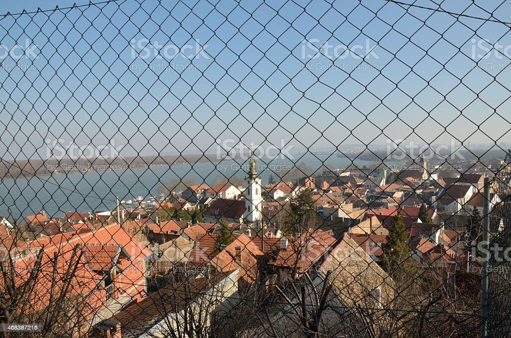 Danube and Zemun, Belgrade, through the wire. stock photo