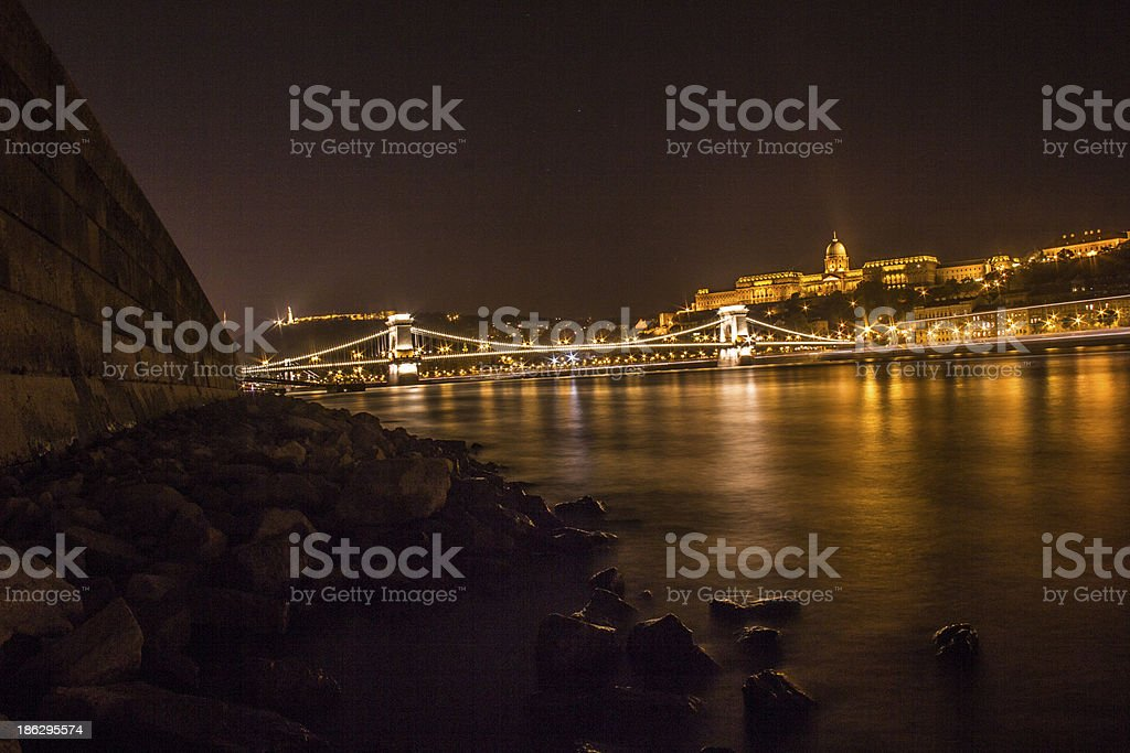 Danube at night royalty-free stock photo