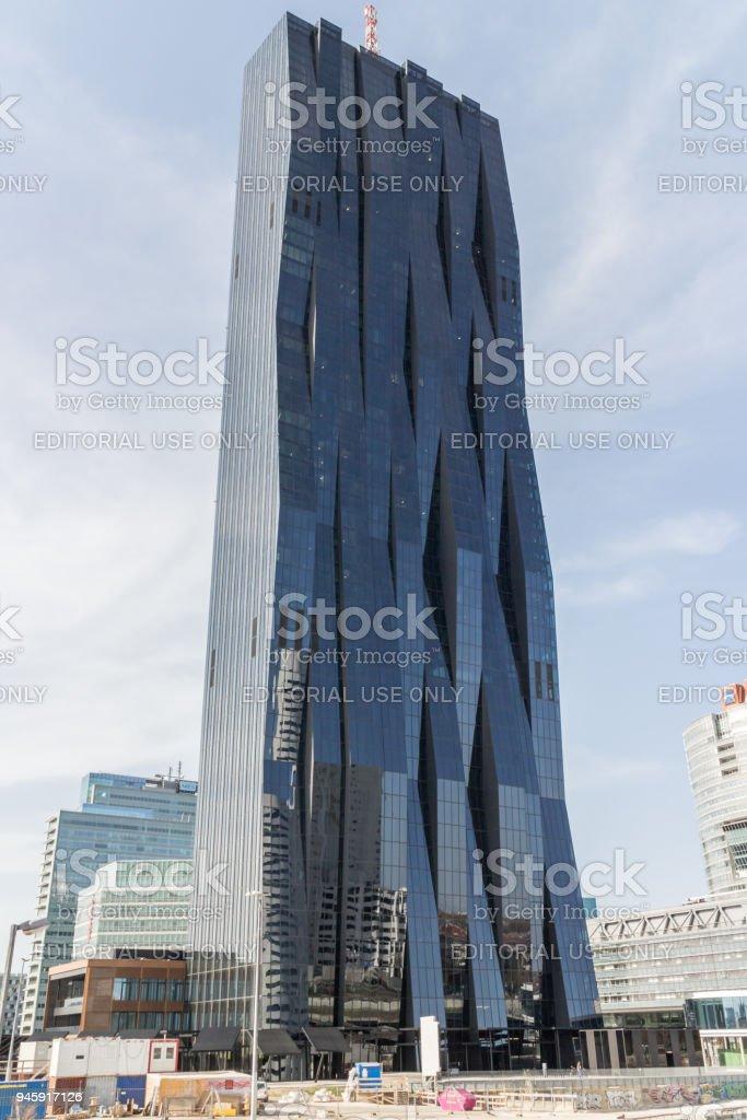 Danube city tower stock photo