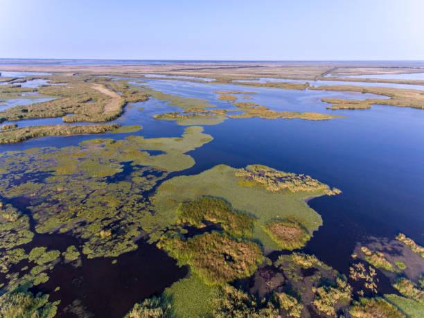 Danube Delta aerial view (Delta Dunarii) Romania stock photo