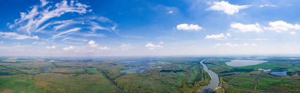 Danube Delta panorama shot from helicopter stock photo