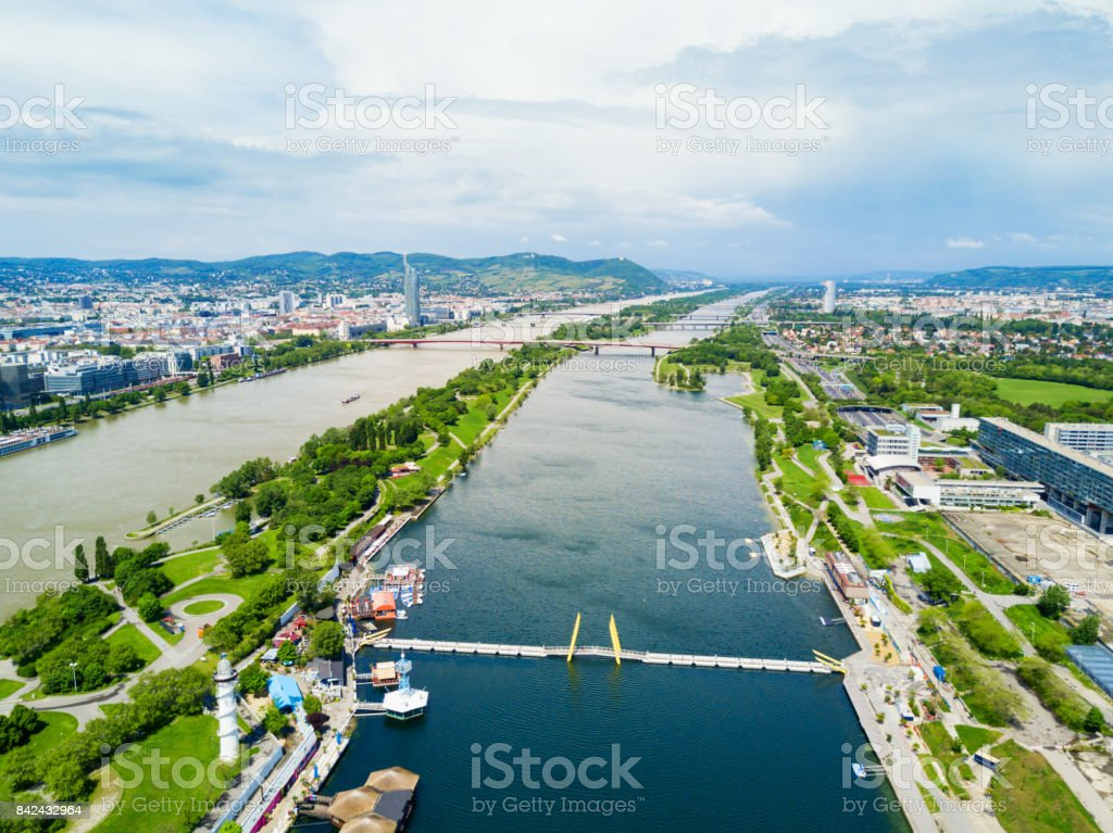 Danube district aerial, Vienna stock photo