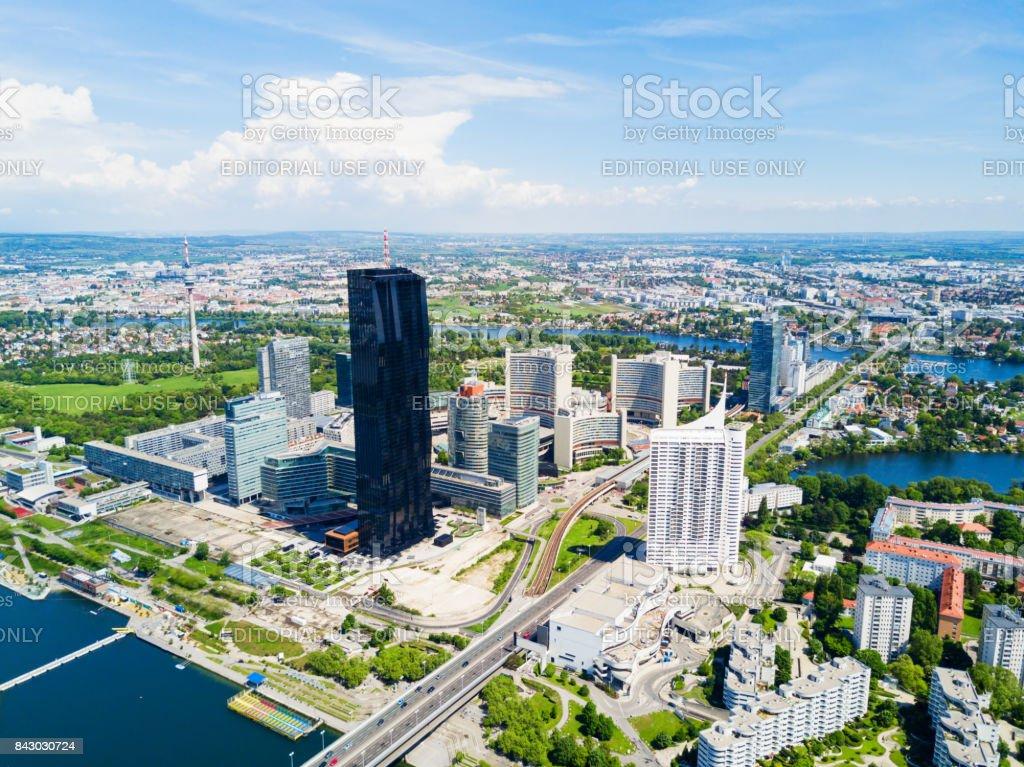 Danube district aerial, Vienna stock photo