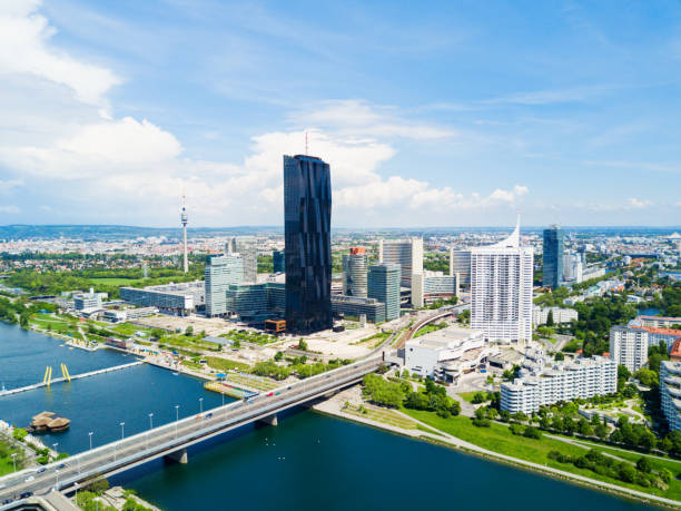 danube district aerial, vienna - vienna stock photos and pictures