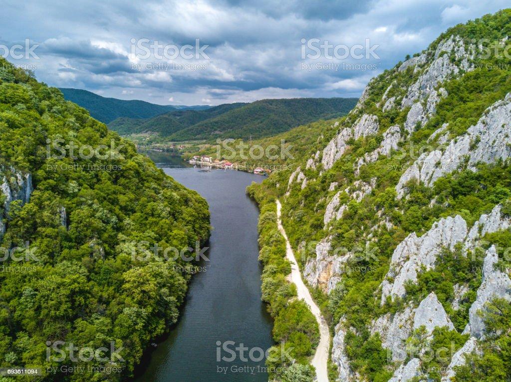 Danube Gorges neear Iron Gates Romania - Serbia also known as Cazanele Dunarii stock photo