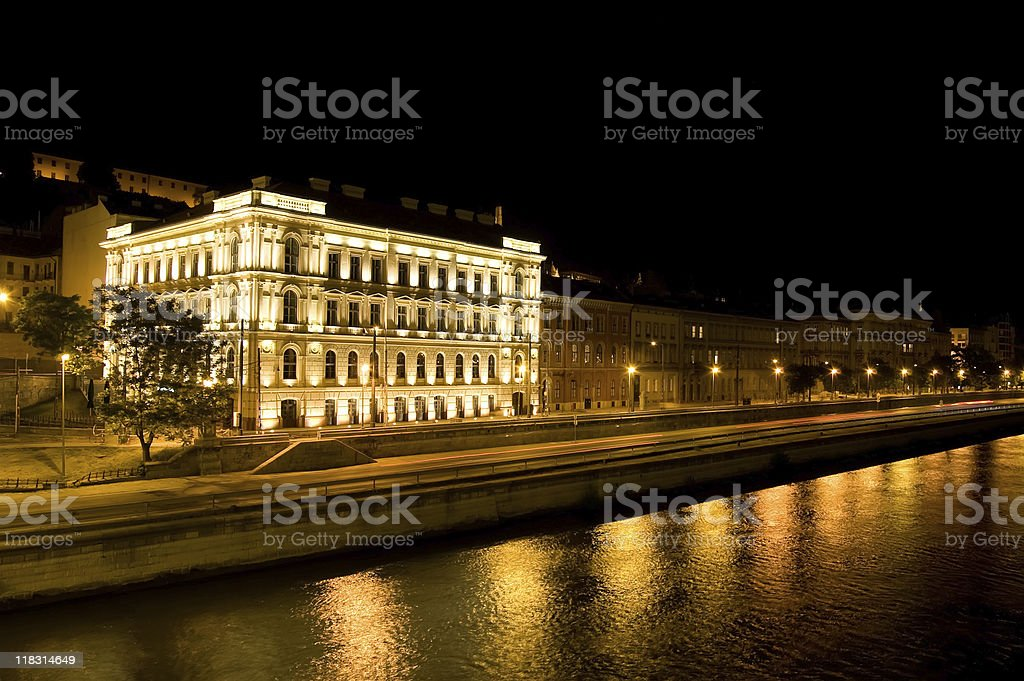Danube in Budapest by Night royalty-free stock photo