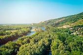 Danube Morava rivers view from castle Devin, Sklovakia