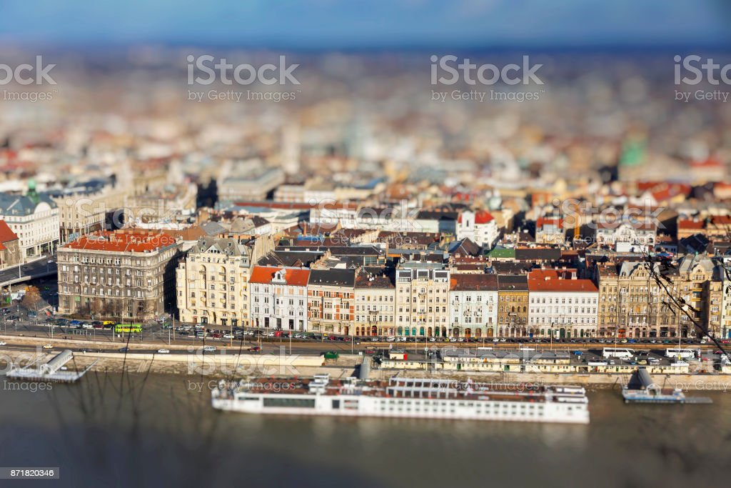 Danube river and Budapest city, Hungary stock photo