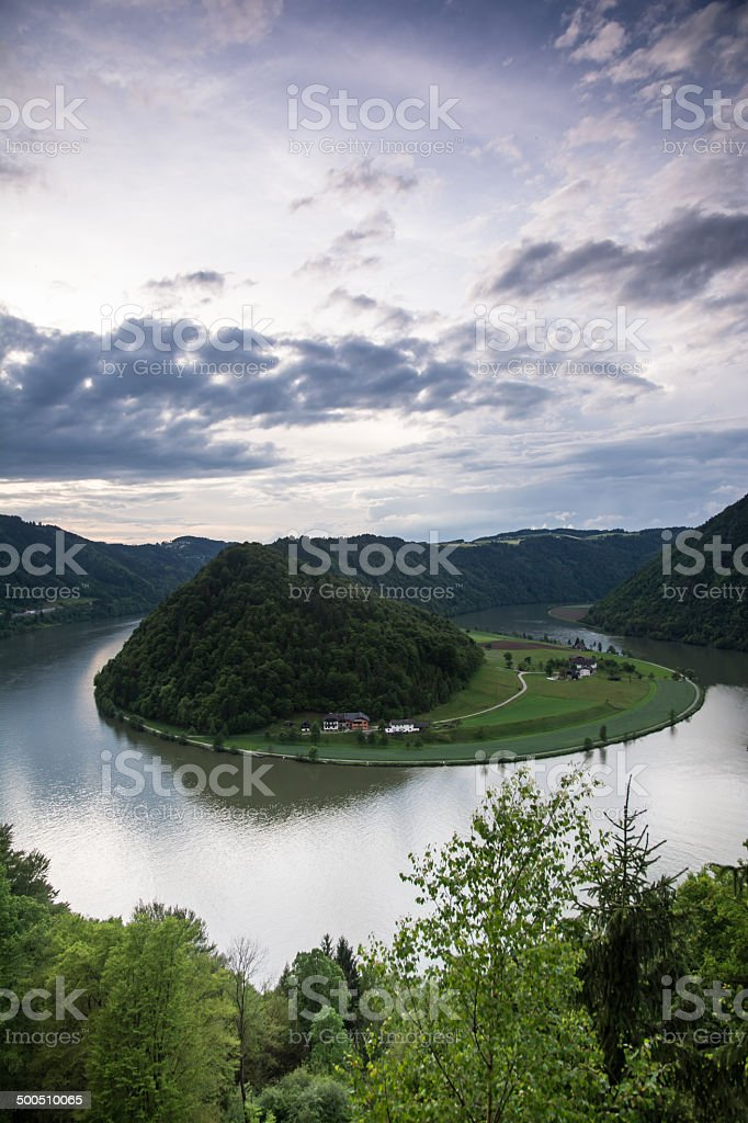 Danube river at sunset stock photo
