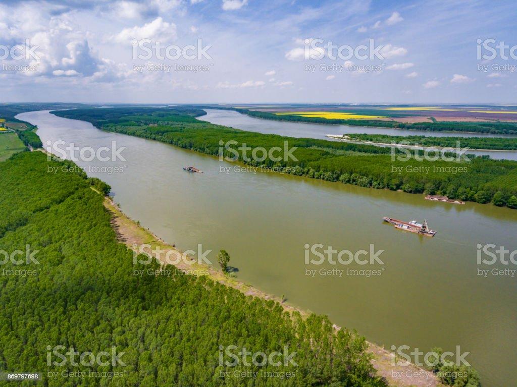 Danube River canal in Dobrogea, Romania stock photo