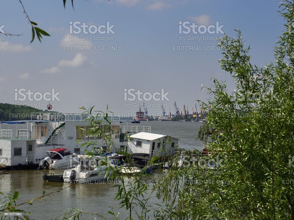 Danube river in Braila, Romania stock photo