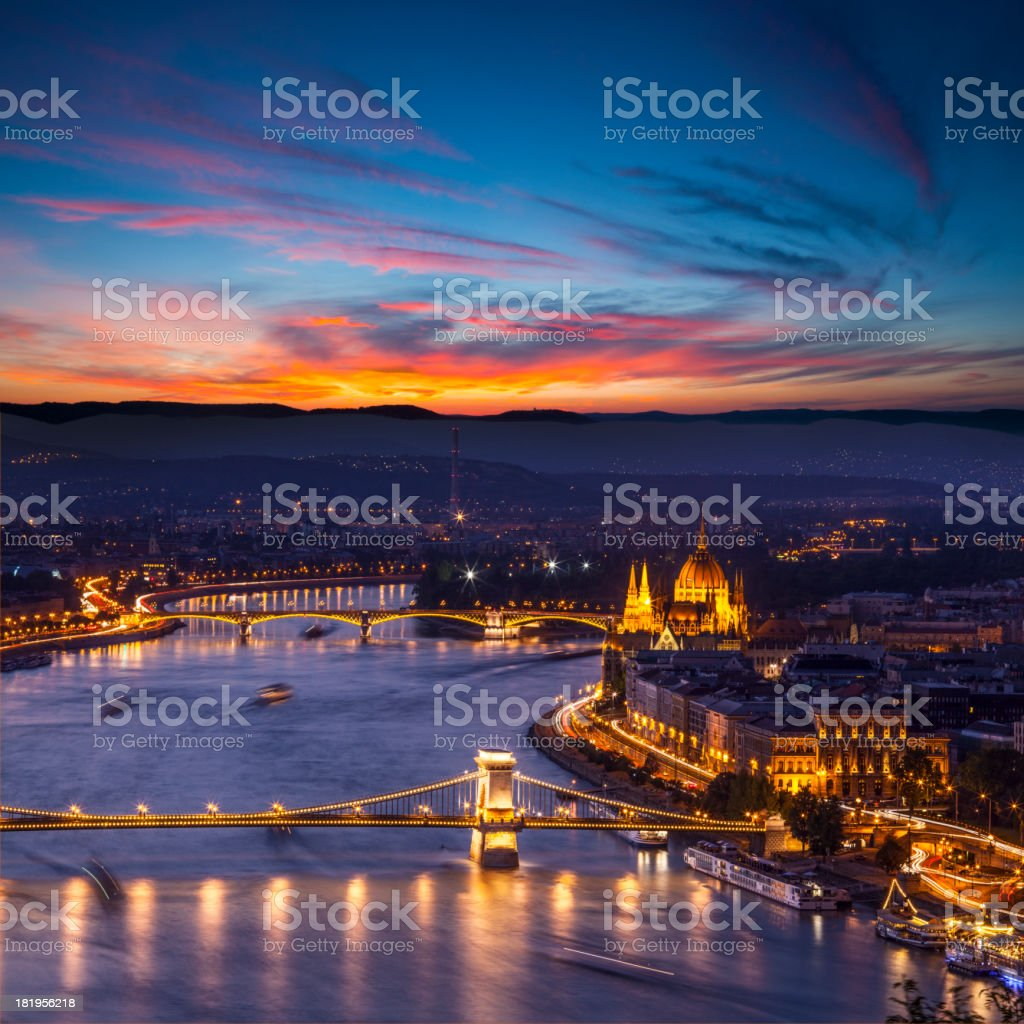 Danube river in Budapest at night stock photo