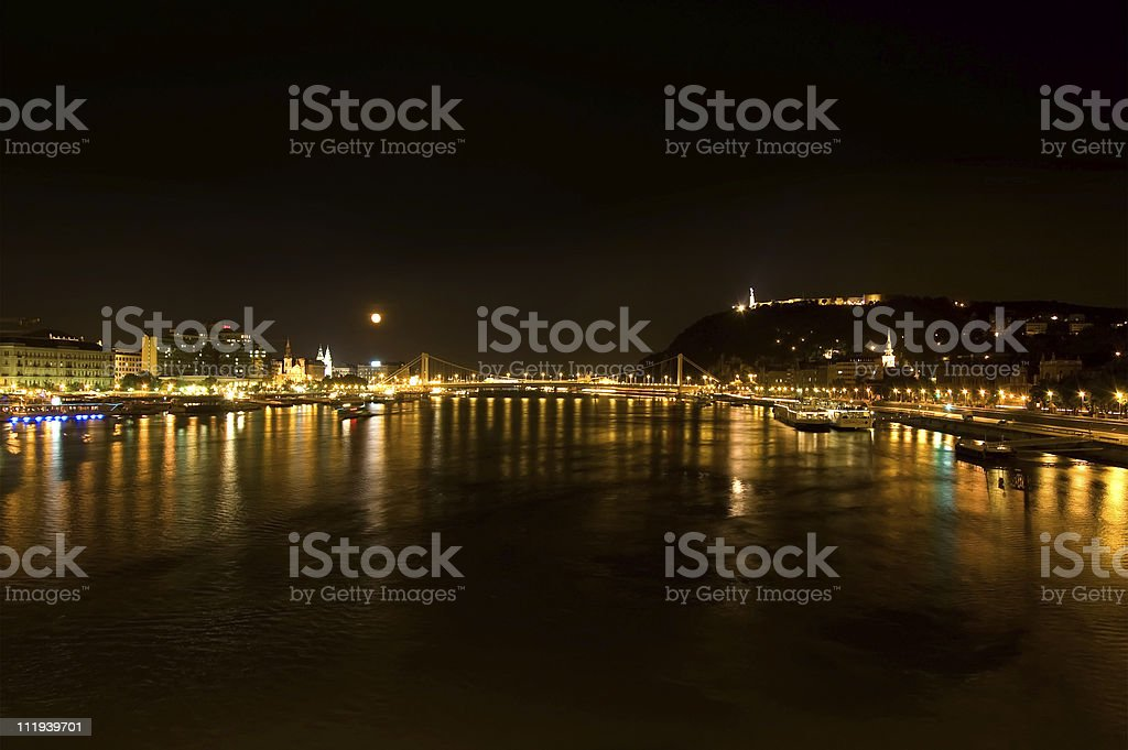 Danube River in Budapest by Night royalty-free stock photo