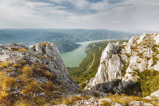 danube river in djerdap national park, serbia - serbia stock photos and pictures