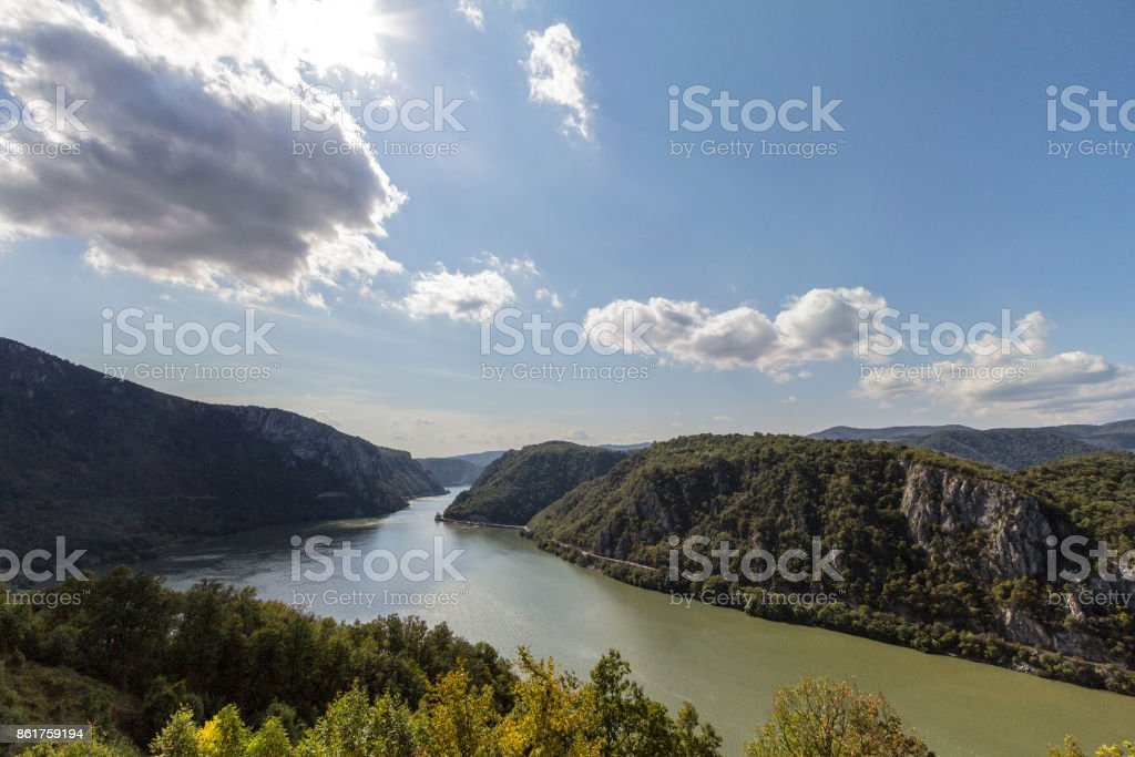 Danube river near the Serbian city of Donji Milanovac in the Iron Gates, also known as Djerdap, which are the Danube gorges, a natural symbol of the border between Serbia and Romania stock photo