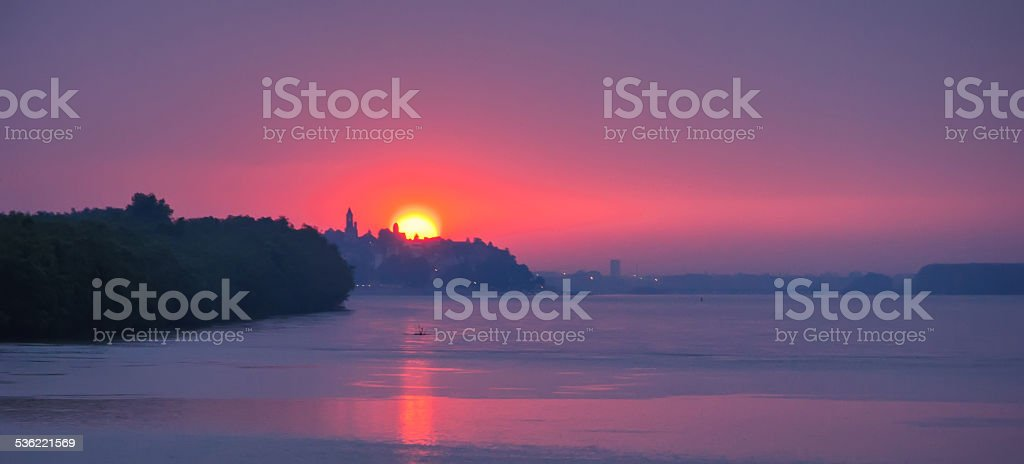 Danube river pink sunset stock photo