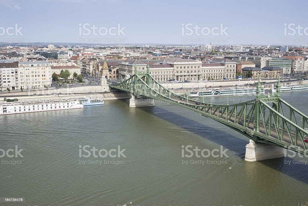 Danube river with Liberty Bridge and boats royalty-free stock photo