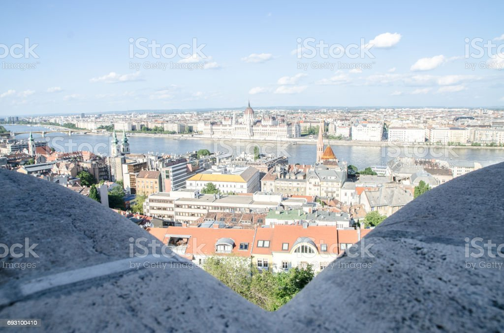 Danude River and Pest side of Budapest seen from Buda Side stock photo