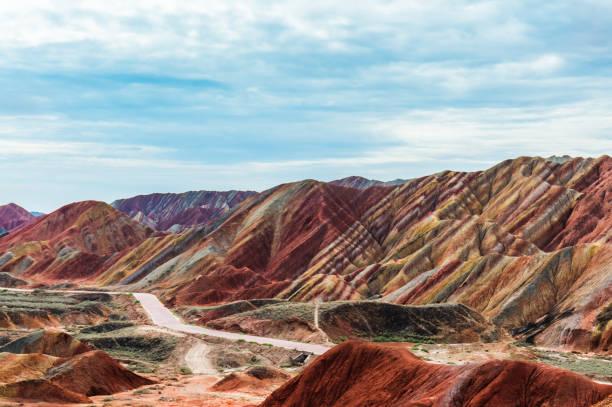danxia landform,gansu province,china stock photo