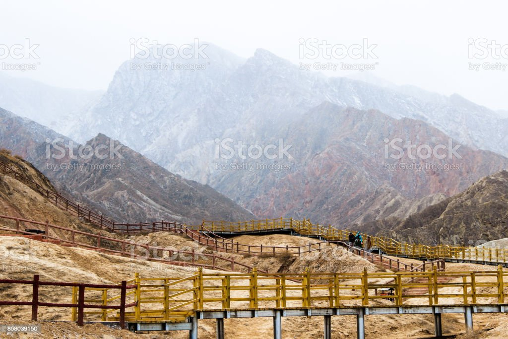 Danxia Rainbow Mountains, Zhangye, Gansu Province, China stock photo