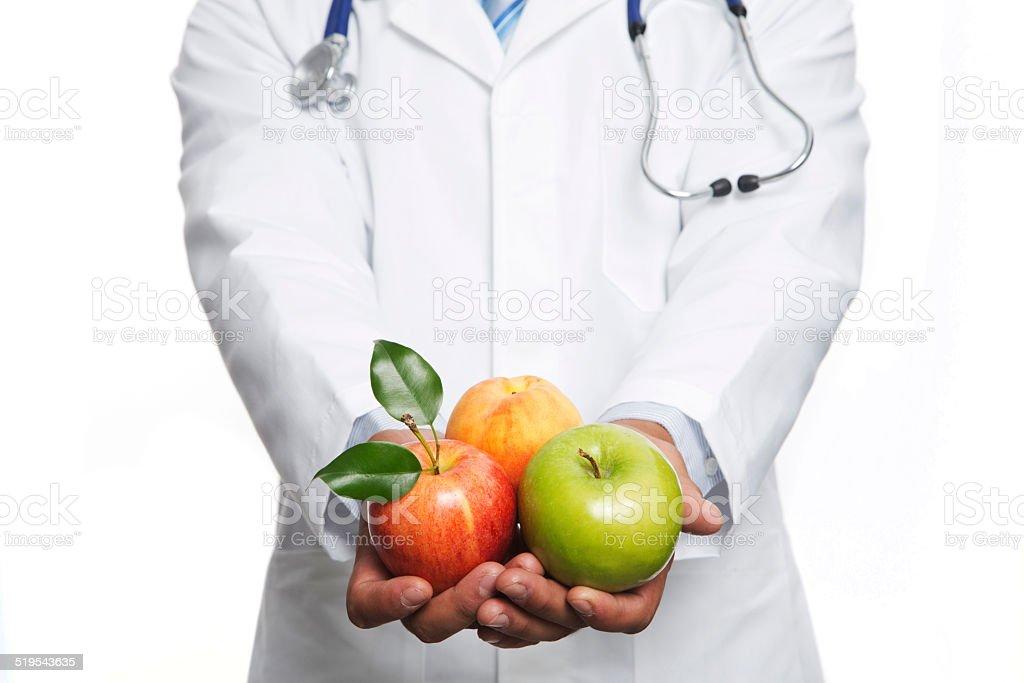 Dany con manzanas stock photo