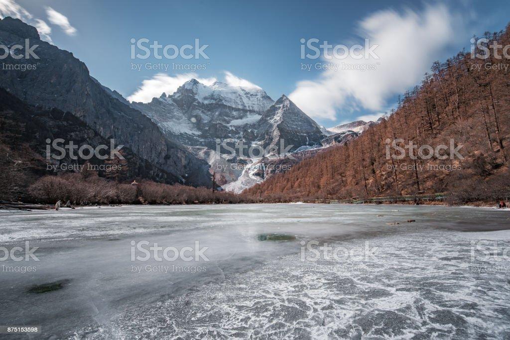 Daocheng Aden snow mountain lake landscape, Sichuan stock photo