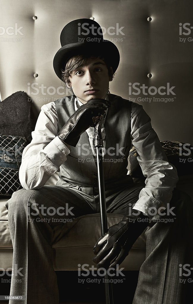 Dapper young victorian guy stock photo