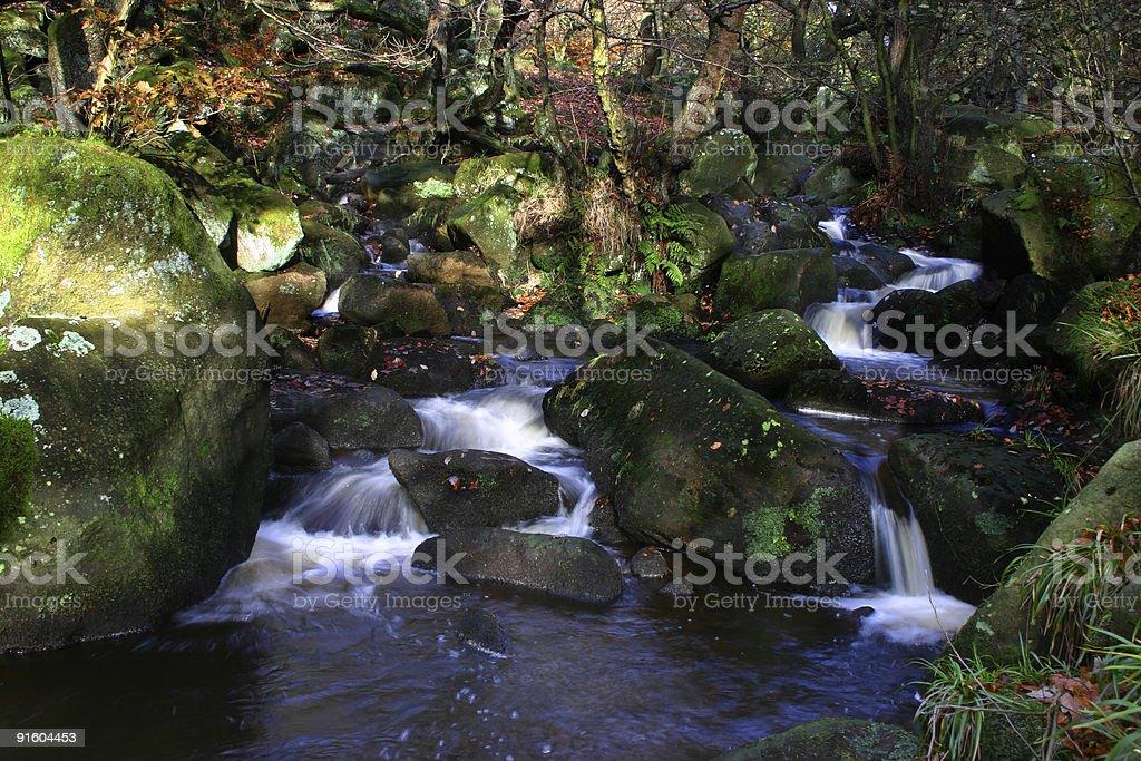 Dappled sunlight on cascading water royalty-free stock photo