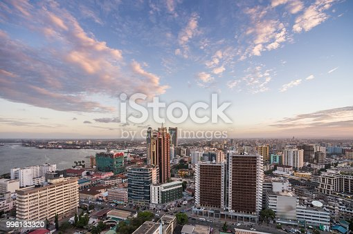 A high angle view over downtown city Dar es Salaam Business District Tanzania