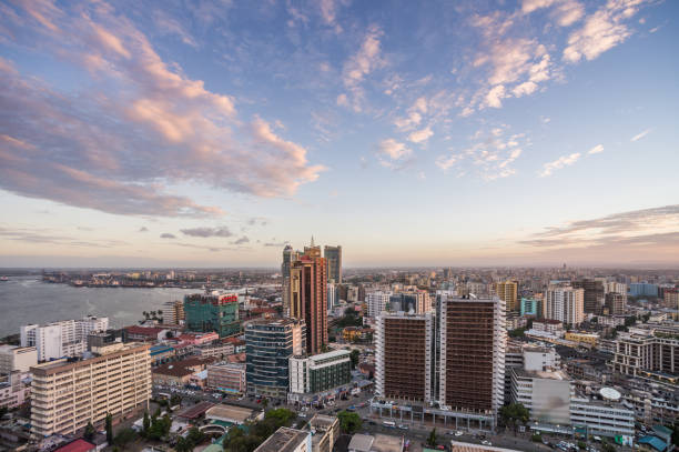 Dar es Salaam Business District Cityscape High Angle View with coastline A high angle view over downtown city Dar es Salaam Business District Tanzania east africa stock pictures, royalty-free photos & images