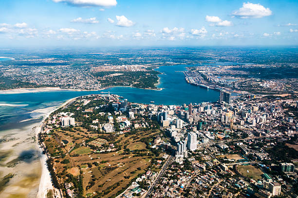 Dar Es Salaam Capital city of Tanzania, Dar es Salaam. View from the plane. tanzania stock pictures, royalty-free photos & images