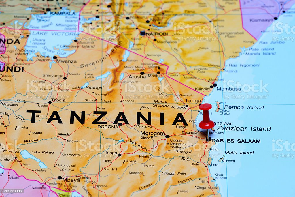 Dar Es Salaam Pinned On A Map Of Africa Stock Photo More Pictures