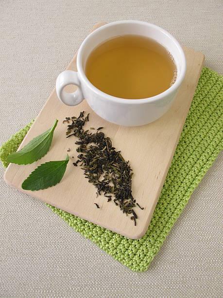 Darjeeling green tea and stevia stock photo