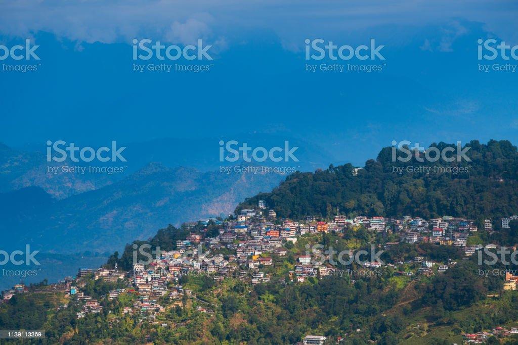 Darjeeling Stadtansicht aus Hochwinkel-Blick erschossen – Foto