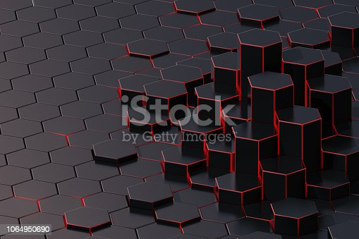 istock Dark abstract 3d-rendering background of futuristic surface with hexagons. 3D illustration 1064950690