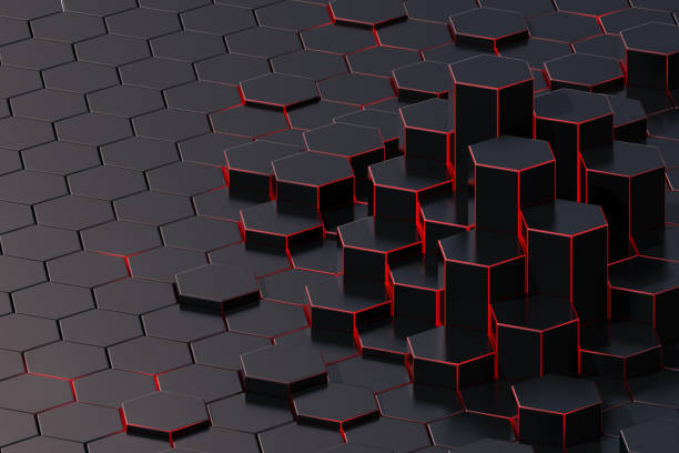 dark abstract 3d-rendering background of futuristic surface with hexagons. 3d illustration - graphene stock photos and pictures