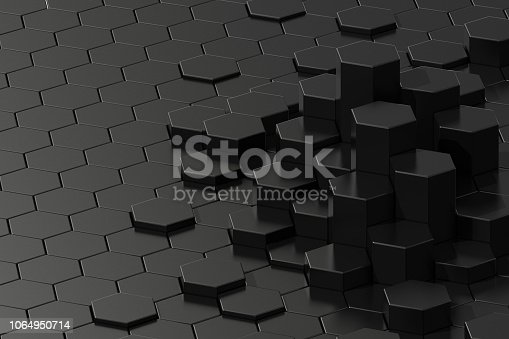 istock Dark abstract 3d-rendering background of futuristic surface with hexagons. 3D illustration 1064950714