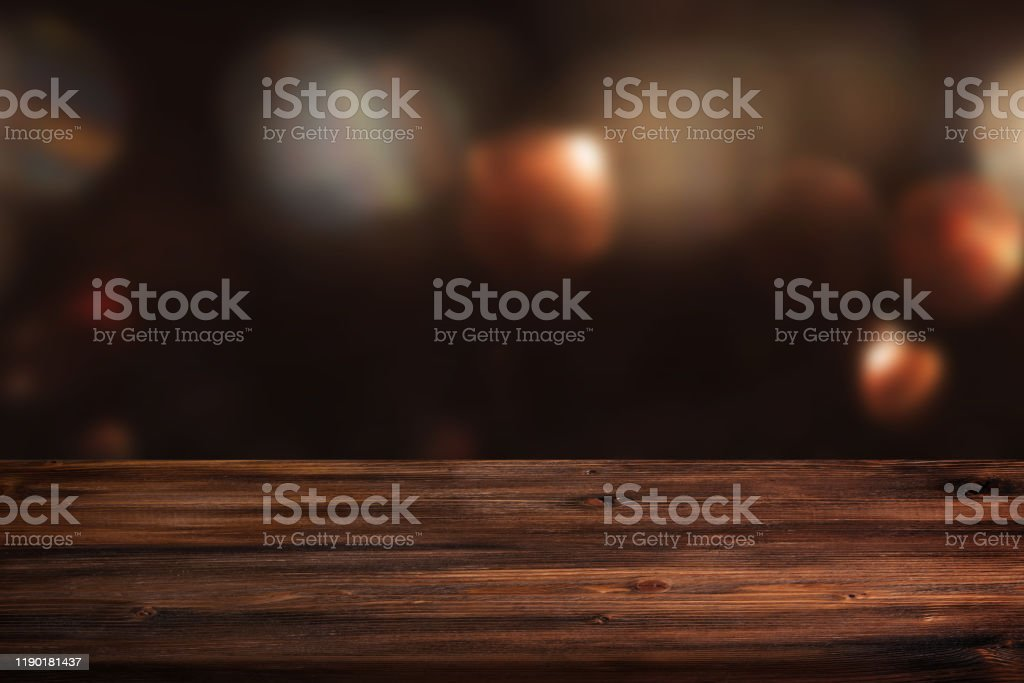 Dark abstract background with wooden table - Royalty-free Abstrato Foto de stock