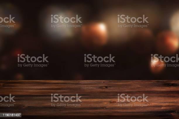 Dark Abstract Background With Wooden Table - Fotografias de stock e mais imagens de Abstrato