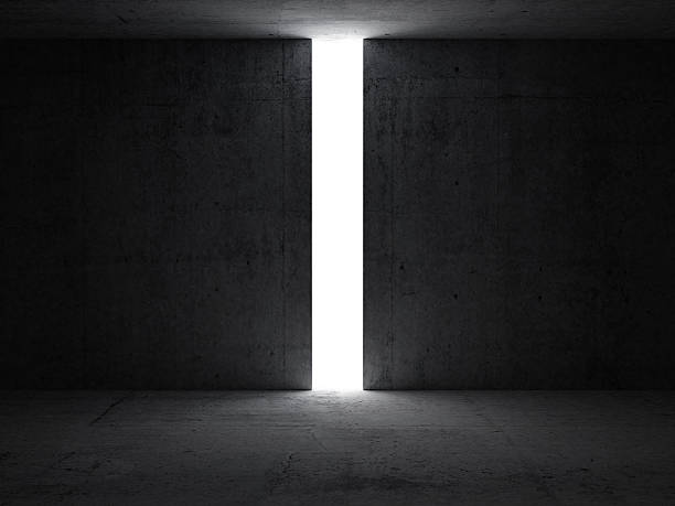 dark abstract interior with opening in the concrete wall - open gate stock photos and pictures