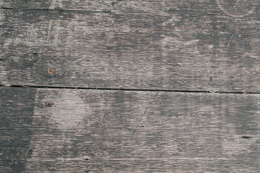 Dark aged empty background of brown old natural wood pattern texture planks inside vintage grunge light warm interior with shadows.