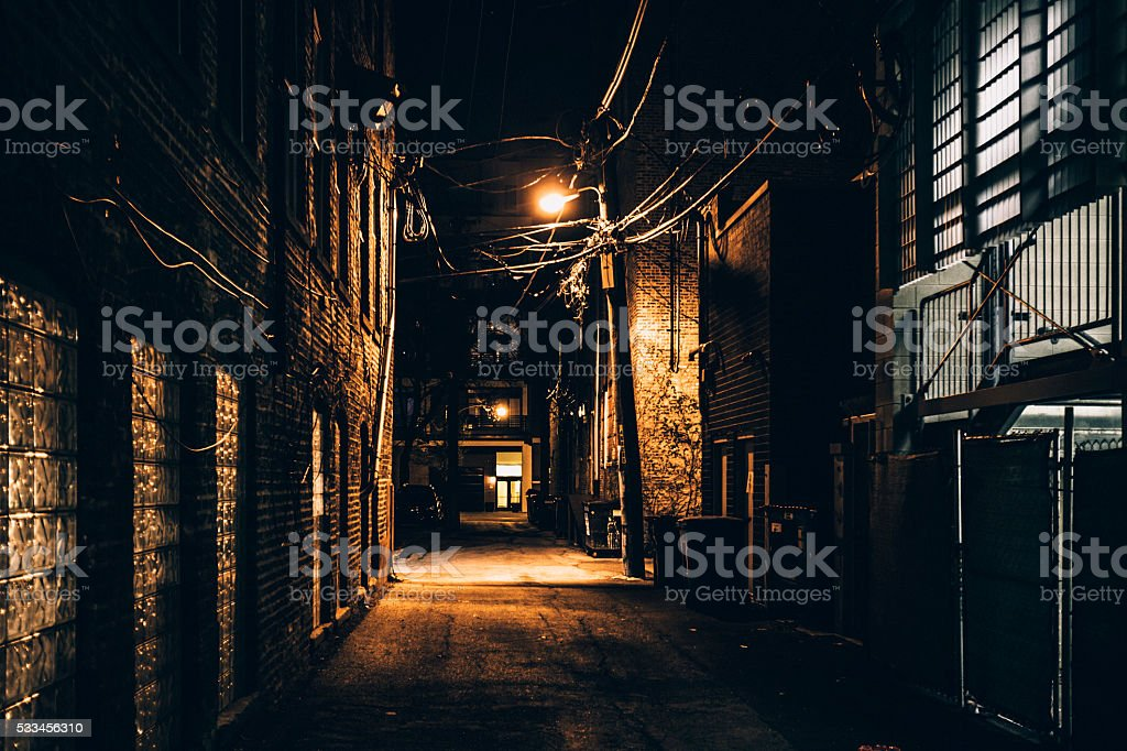 Dark alley. Bucktown, Chicago. stock photo
