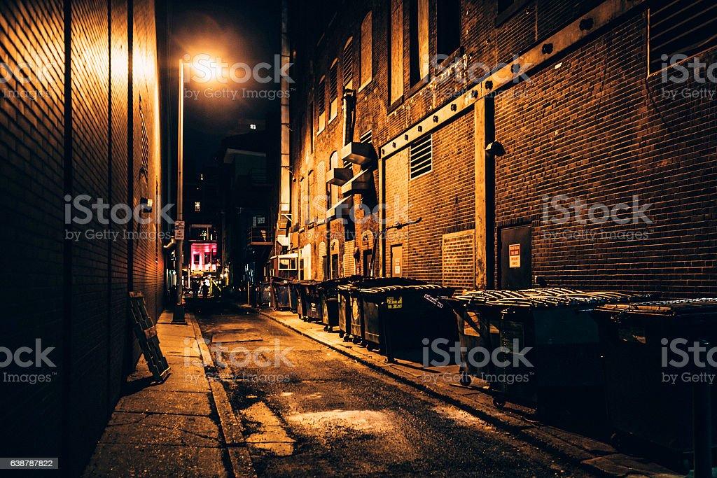 Dark alley. Downtown Philadelphia. stock photo