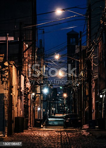 Dark alley in old town. Hoboken, New Jersey, USA