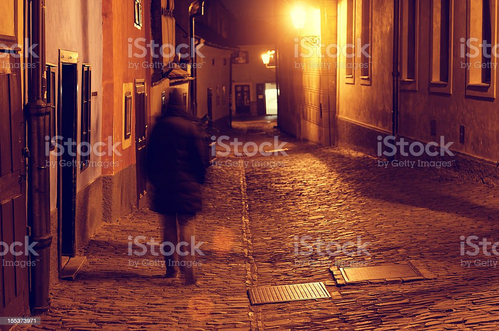 Dark alley in Prague royalty-free stock photo